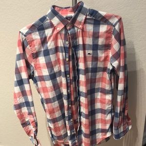 Vineyard Vines S Slim Fit Blue Red Checkered Shirt